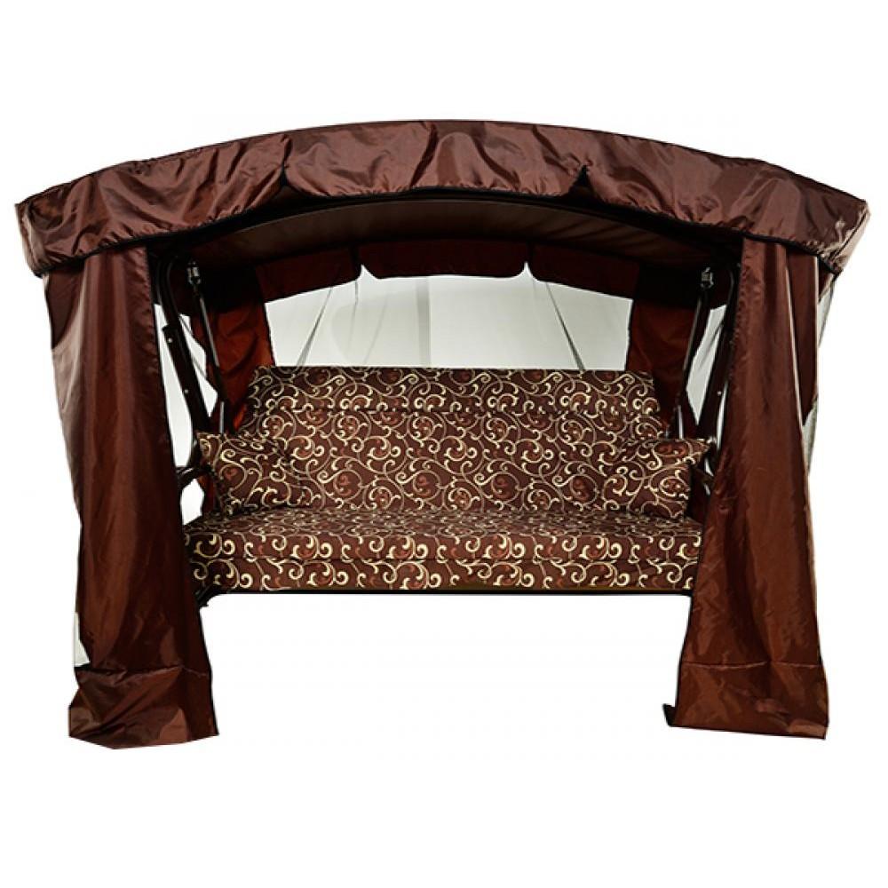 Садовые качели МебельСад Тор с подголовником и москитной сеткой коричневый вензель