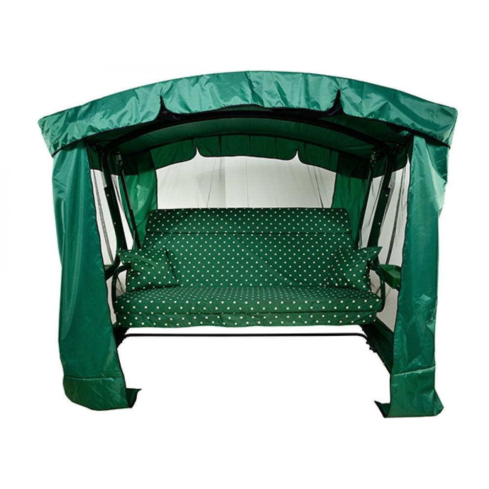 Садовые качели МебельСад Тор с подголовником и москитной сеткой зеленый горошек