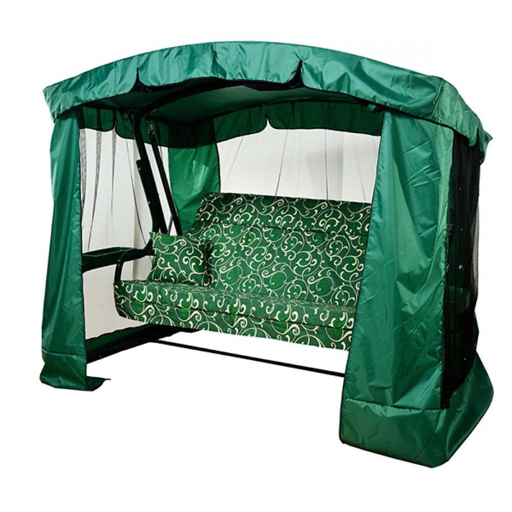 Садовые качели МебельСад Тор с подголовником и москитной сеткой зеленый вензель