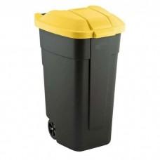Контейнер для мусора на колесах 110L черный/желтый