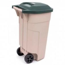 Контейнер для мусора на колесах 110L бежевый/черный