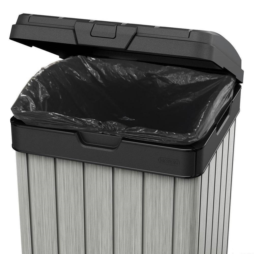 Контейнер для мусора уличный ROCKFORD BIN 125L черный/серебро