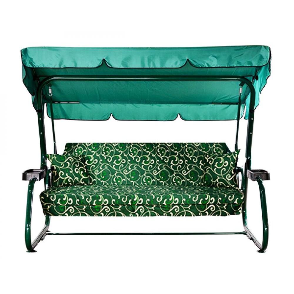 Садовые качели МебельСад Атлант XXL с подголовником зеленая клетка