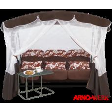 Садовые качели Arno Werk Элегант Премиум со столиком шоколад