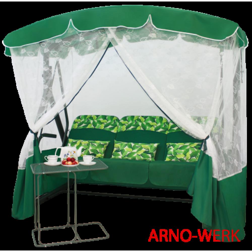 Садовые качели Arno Werk Элегант Премиум со столиком зеленый