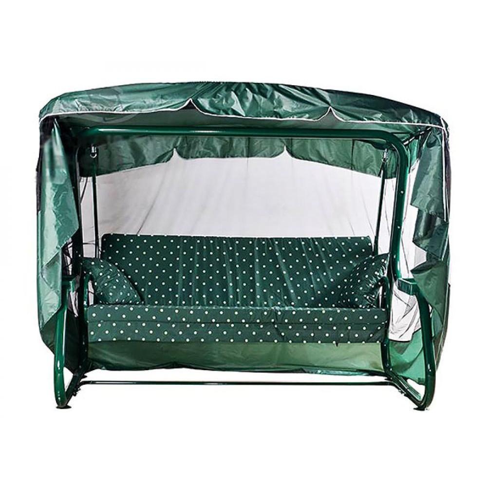 Садовые качели МебельСад Гармония с москитной сеткой зеленый горошек