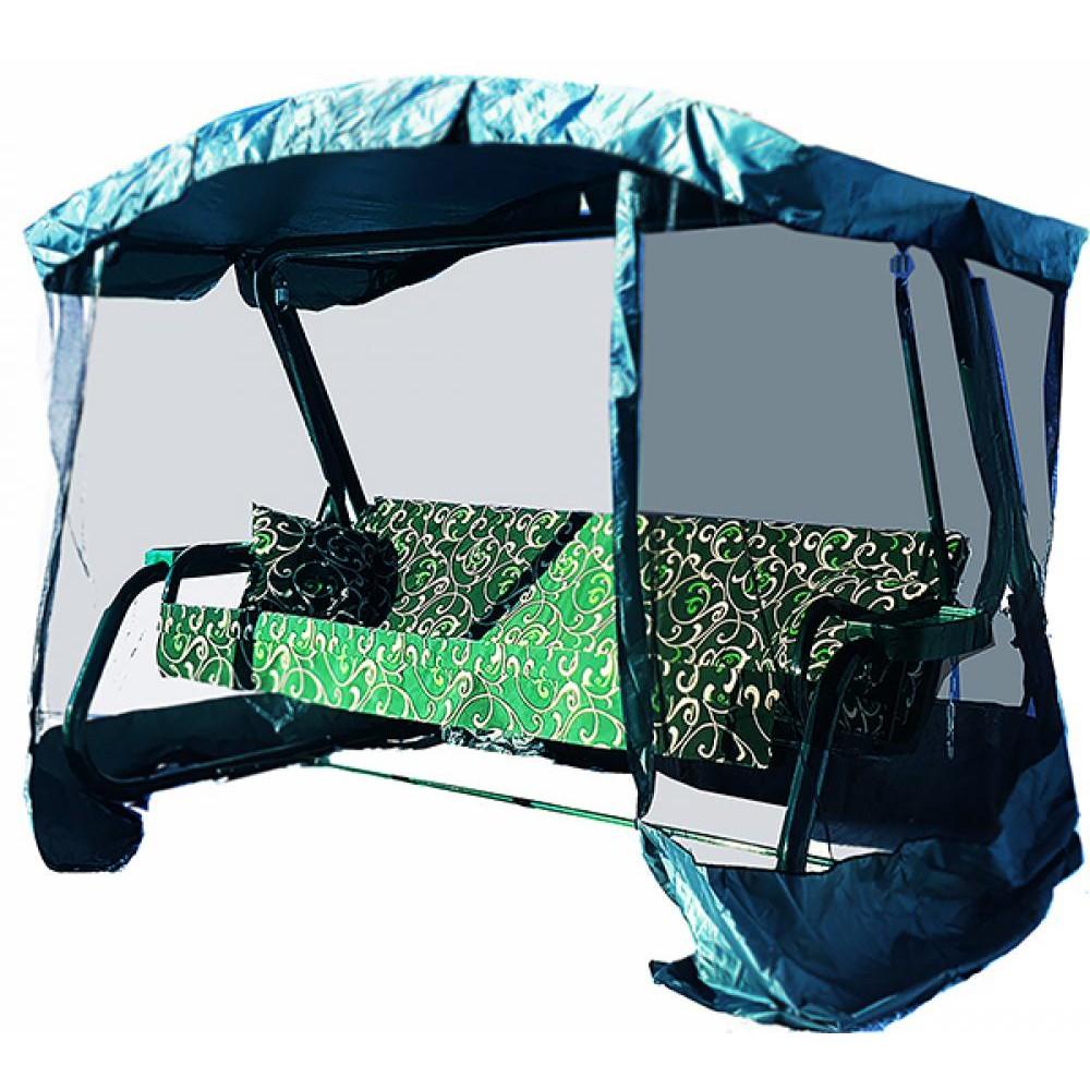 Садовые качели МебельСад Магеллан с москитной сеткой зеленый вензель