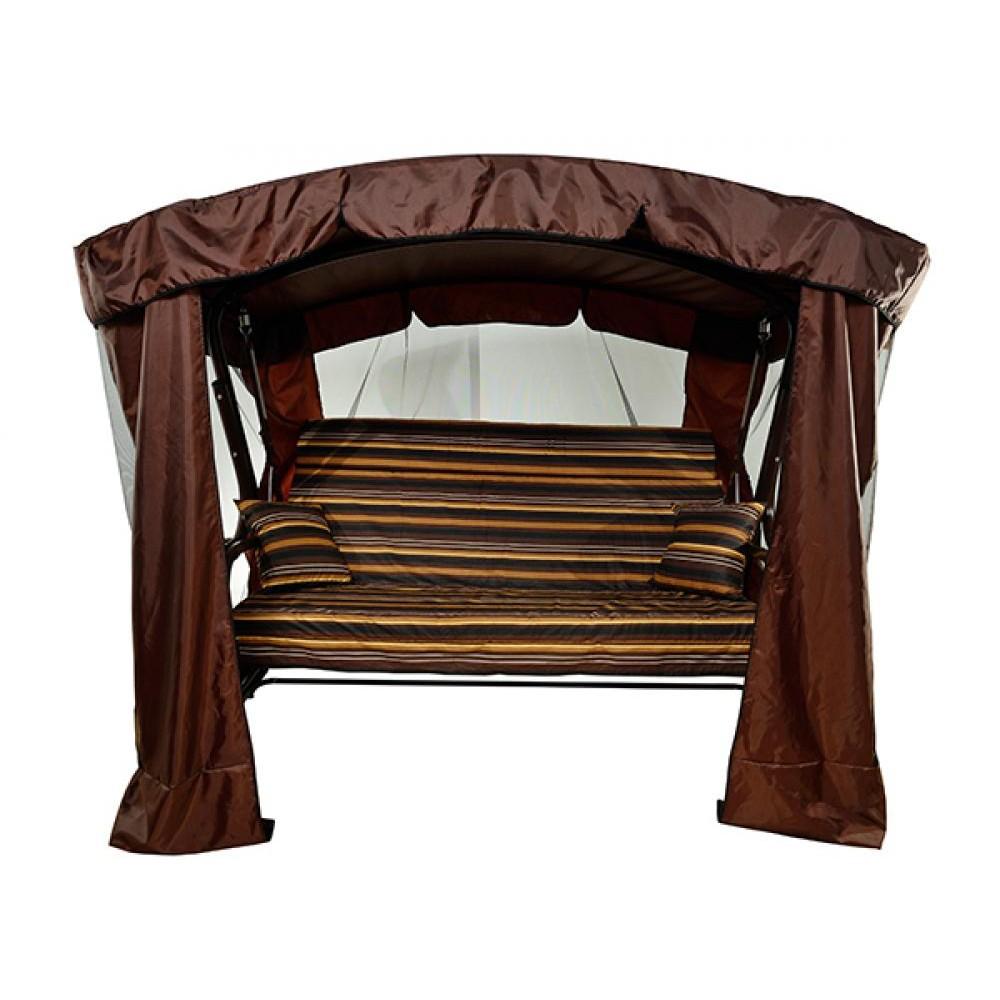 Садовые качели МебельСад Ранго с подголовником и москитной сеткой коричневый вензель