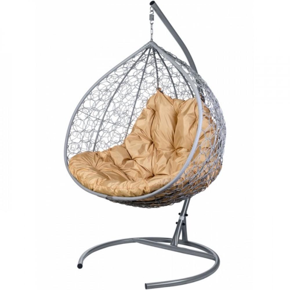 Двойное подвесное кресло BiGarden Gemini gray (подушка бежевая)