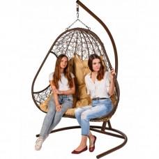 Двойное подвесное кресло BiGarden Primavera Brown (бежевая подушка)