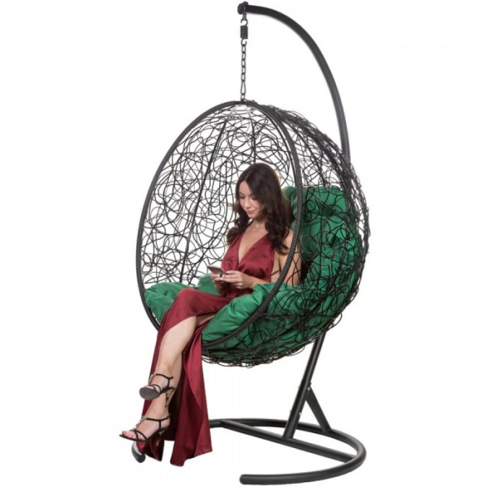 Подвесное кресло BiGarden Kokos Black (зеленая подушка)