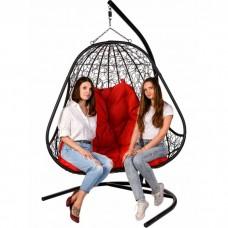 Двойное подвесное кресло BiGarden Primavera Black (красная подушка)