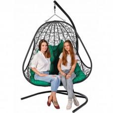 Двойное подвесное кресло BiGarden Primavera Black (зеленая подушка)