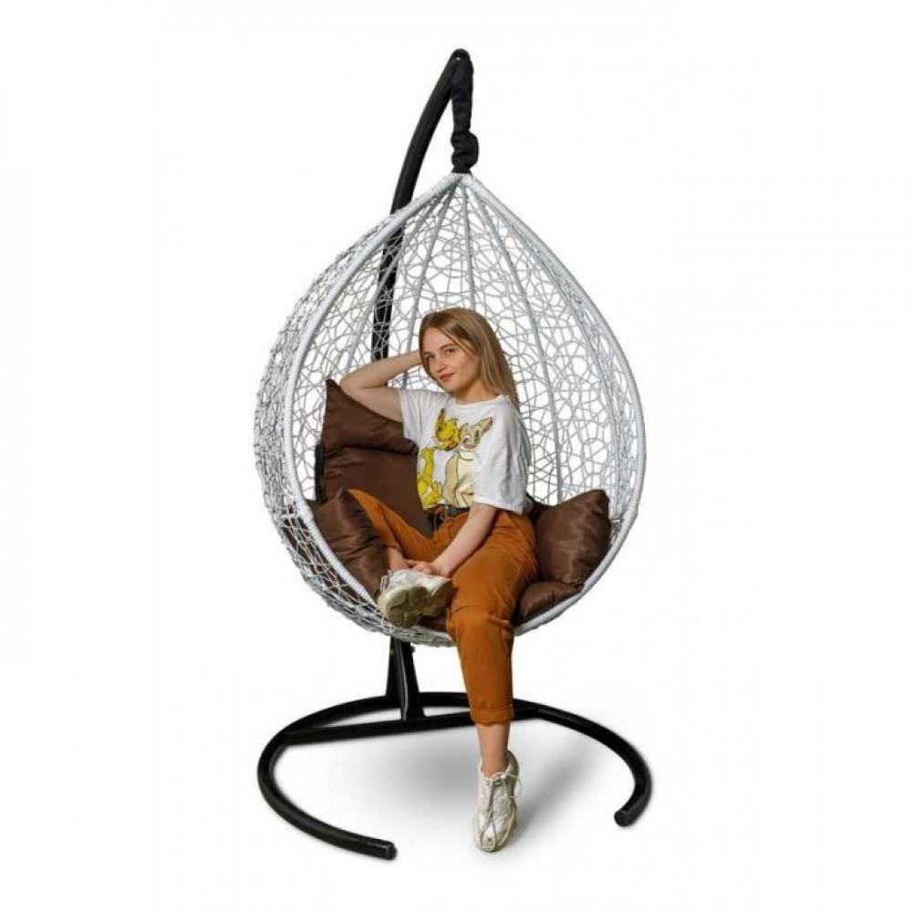 Подвесное кресло-кокон Sevilla белый/коричневый