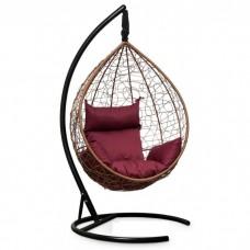 Подвесное кресло-кокон Sevilla горячий шоколад/бордовый