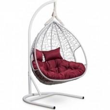 Подвесное кресло-кокон Laura Outdoor Fisht белый/бордовый