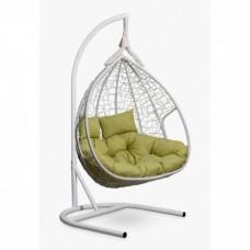 Подвесное кресло-кокон Laura Outdoor Fisht белый/зеленый
