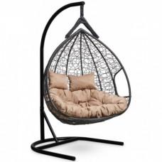 Подвесное кресло-кокон Laura Outdoor Fisht черный/бежевый