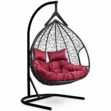 Подвесное кресло-кокон Laura Outdoor Fisht черный/бордовый