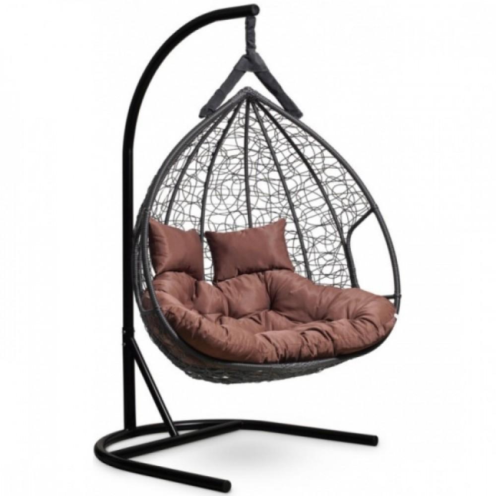 Подвесное кресло-кокон Laura Outdoor Fisht черный/коричневый