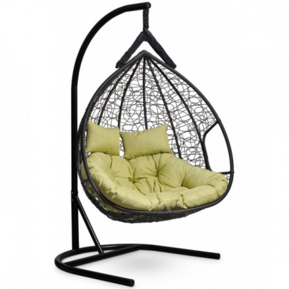 Подвесное кресло-кокон Laura Outdoor Fisht черный/зеленый