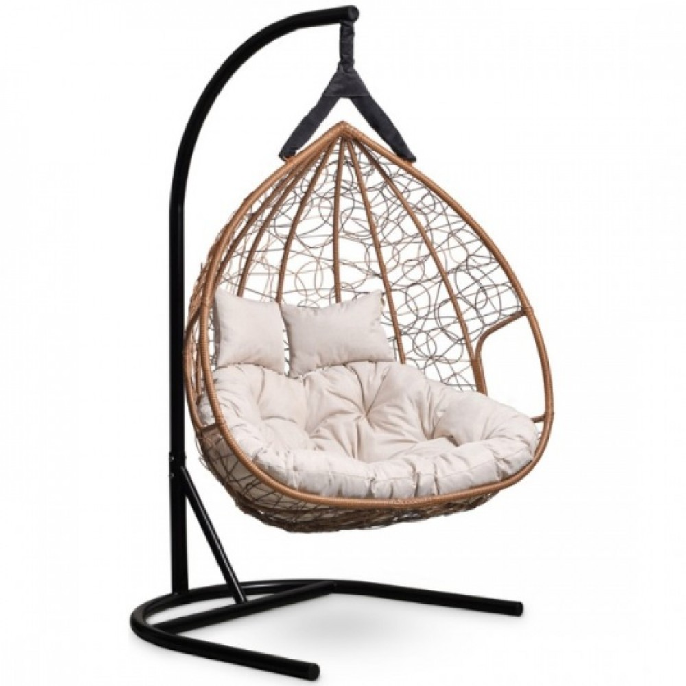 Подвесное кресло-кокон Laura Outdoor Fisht горячий шоколад/бежевый