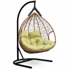 Подвесное кресло-кокон Laura Outdoor Fisht горячий шоколад/зеленый