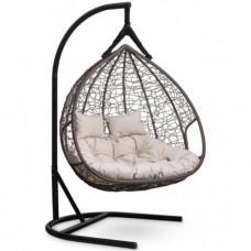 Подвесное кресло-кокон Laura Outdoor Fisht коричневое, белая подушка